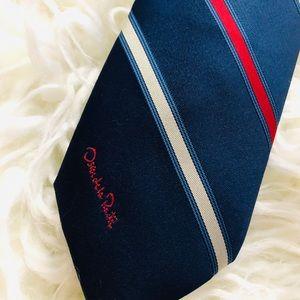 Vintage OSCAR DE LA RENTA Red White & Blue Tie
